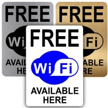 Free WiFi-Aluminium Metal Sign-150mmx100mm-Notice,Door,Warning,Internet,Wireless,Phone,Device,Signal